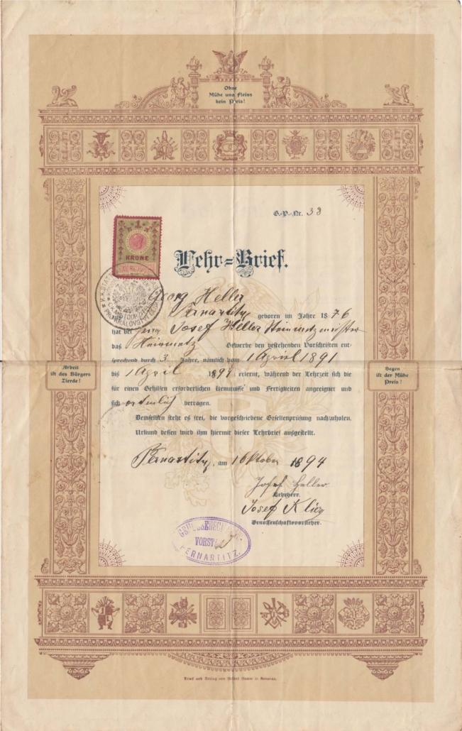 Steinmetzlehrbrief des Georg Heller