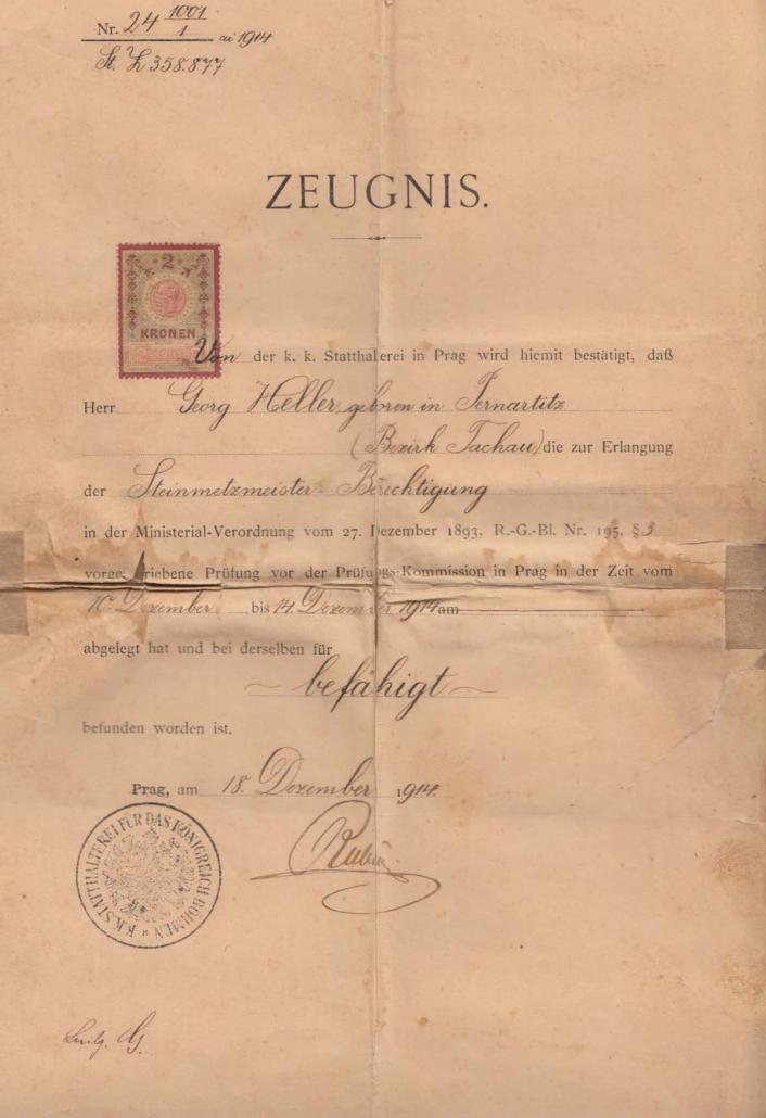 Steinmetzmeisterbrief des Georg Heller