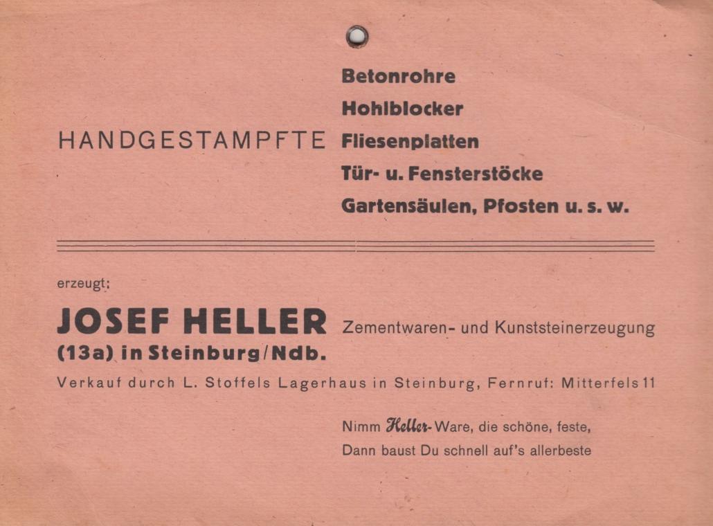 Werbeanhänger aus der Zeit in Steinburg